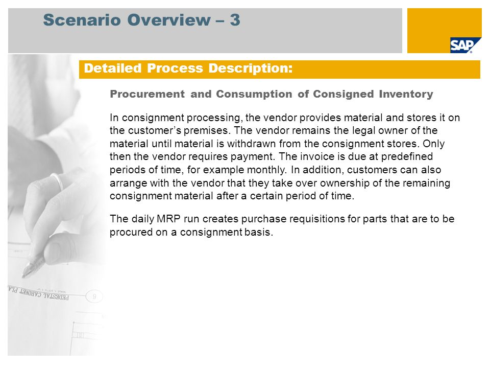 Process Flow Diagram Procurement and Consumption of Consigned Inventory Product.