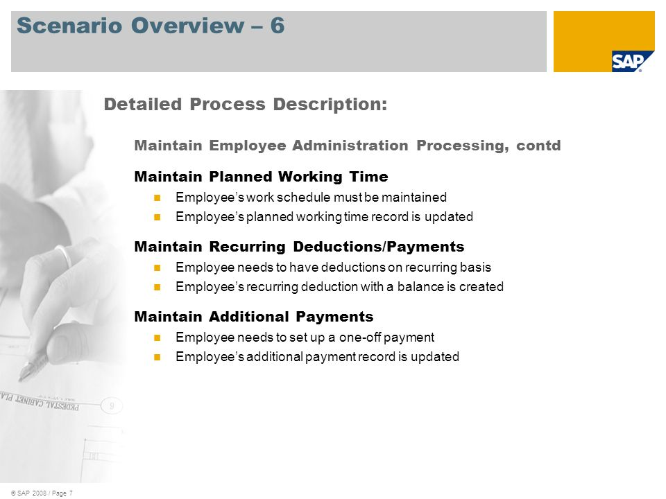 © SAP 2008 / Page 7 Scenario Overview – 6 Maintain Employee Administration Processing, contd Maintain Planned Working Time Employees work schedule mus