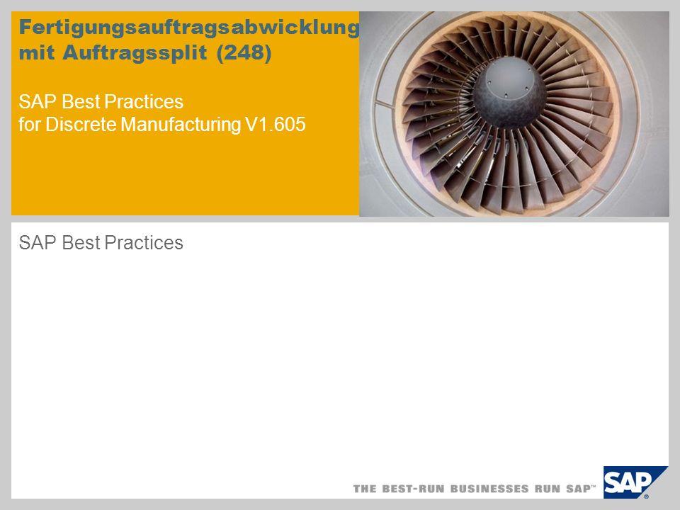 Fertigungsauftragsabwicklung mit Auftragssplit (248) SAP Best Practices for Discrete Manufacturing V1.605 SAP Best Practices
