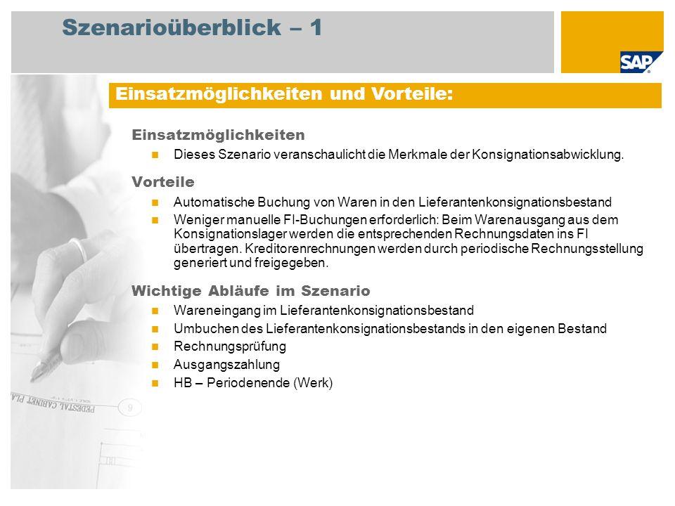 Szenarioüberblick – 2 Erforderlich Enhancement package 5 for SAP ERP 6.0 An den Abläufen beteiligte Benutzerrollen Produktionsplaner Lagermitarbeiter Kreditorenbuchhalter Erforderliche SAP-Anwendungen: