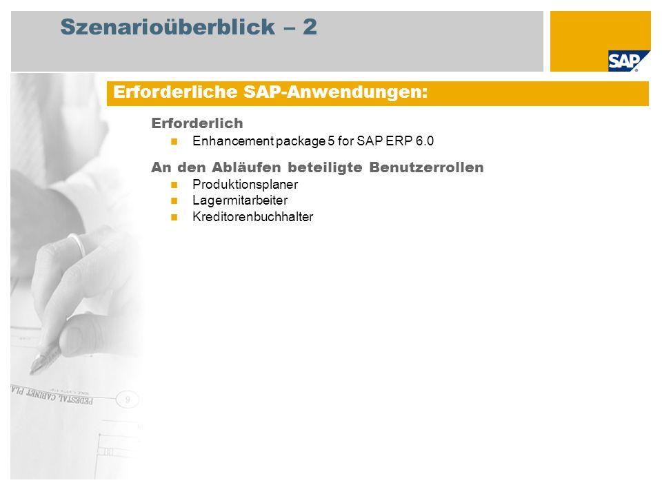 Szenarioüberblick – 2 Erforderlich Enhancement package 5 for SAP ERP 6.0 An den Abläufen beteiligte Benutzerrollen Produktionsplaner Lagermitarbeiter