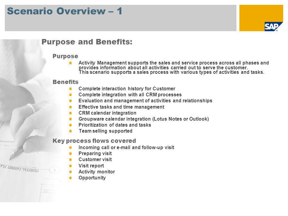 Scenario Overview – 1 Purpose Activity Management supports the sales and service process across all phases and provides information about all activiti