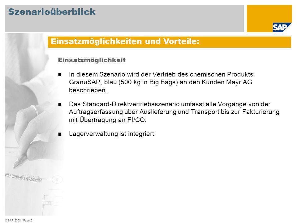 © SAP 2008 / Page 2 Einsatzmöglichkeit In diesem Szenario wird der Vertrieb des chemischen Produkts GranuSAP, blau (500 kg in Big Bags) an den Kunden