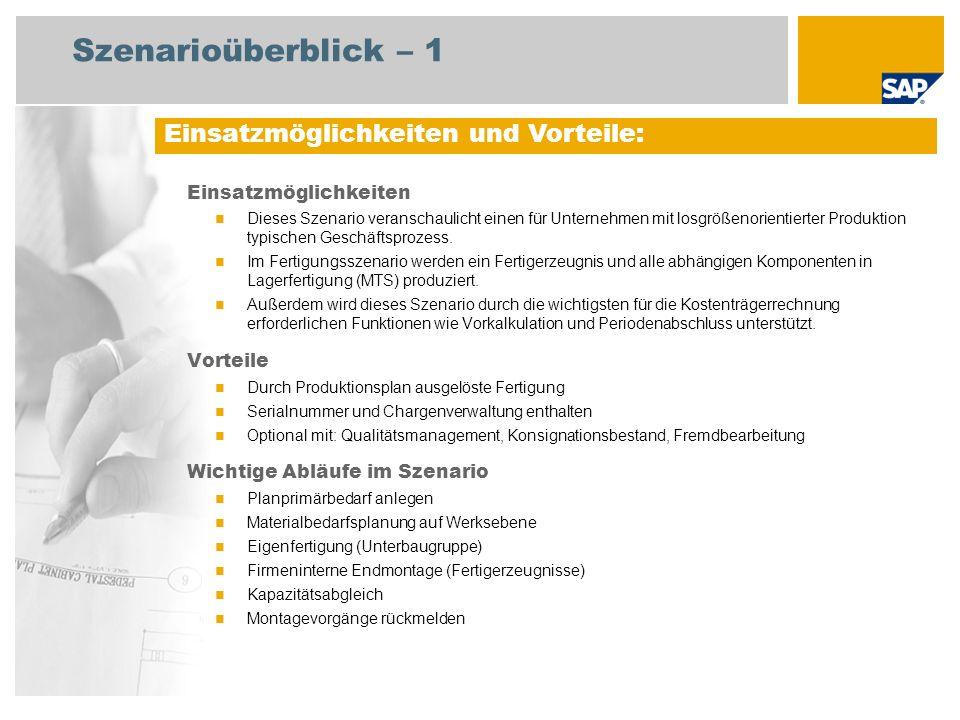 Szenarioüberblick – 2 Erforderlich Enhancement package 5 for SAP ERP 6.0 An den Abläufen beteiligte Benutzerrollen Strategischer Planer Produktionsplaner Fertigungssteuerer Lagermitarbeiter Fertigungsbereichsspezialist Fachkraft Konstruktion Erforderliche SAP-Anwendungen: