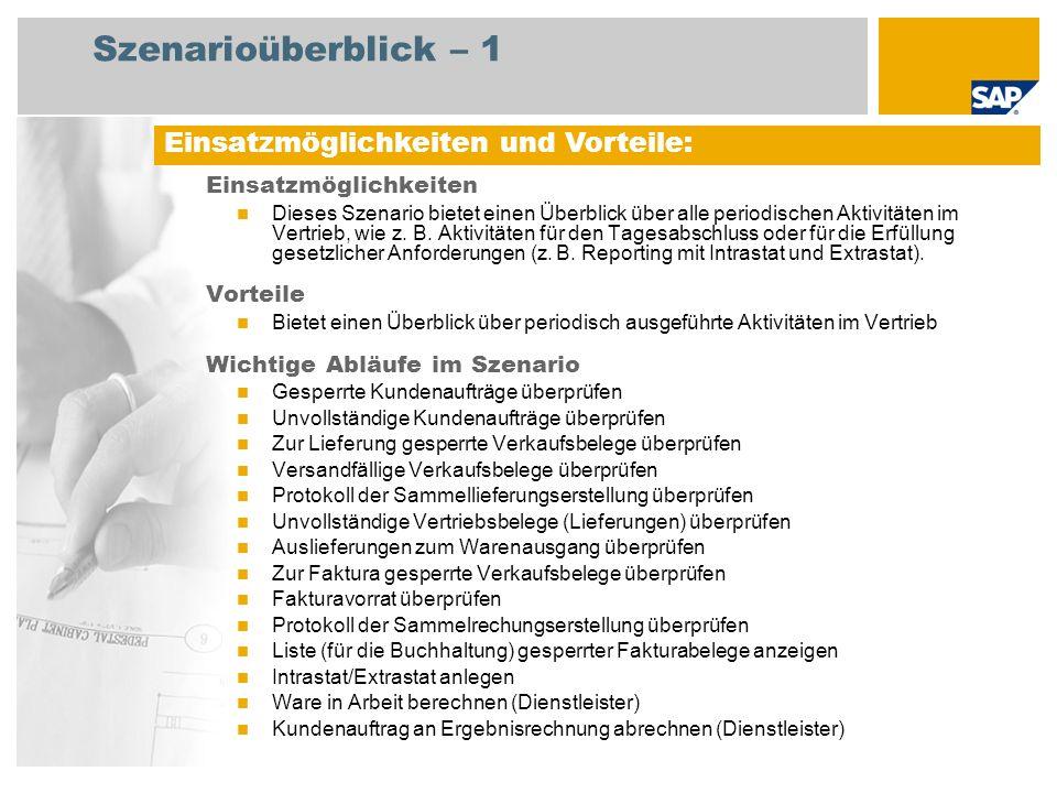 Szenarioüberblick – 2 Erforderlich SAP enhancement package 4 for SAP ERP 6.0 An den Abläufen beteiligte Benutzerrollen Sachbearbeiter Fakturierung Vertriebsleiter Lagermitarbeiter Vertriebsachbearbeiter Lagerleiter Leiter Debitorenbuchhaltung Zollagent Produktkosten-Controller Erforderliche SAP-Anwendungen:
