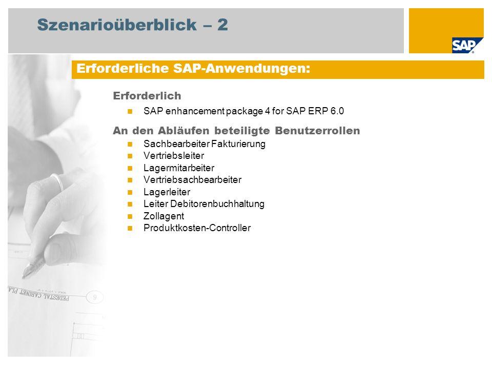 Szenarioüberblick – 2 Erforderlich SAP enhancement package 4 for SAP ERP 6.0 An den Abläufen beteiligte Benutzerrollen Sachbearbeiter Fakturierung Ver