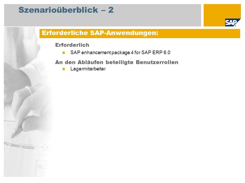 Szenarioüberblick – 2 Erforderlich SAP enhancement package 4 for SAP ERP 6.0 An den Abläufen beteiligte Benutzerrollen Lagermitarbeiter Erforderliche SAP-Anwendungen: