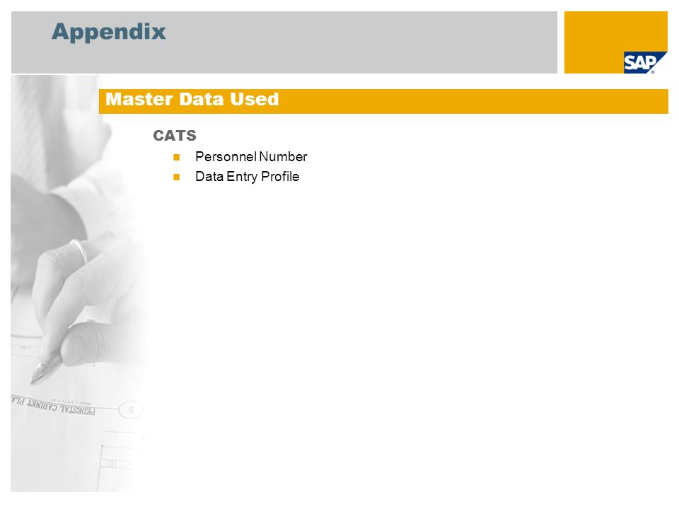 Appendix CATS Personnel Number Data Entry Profile Master Data Used