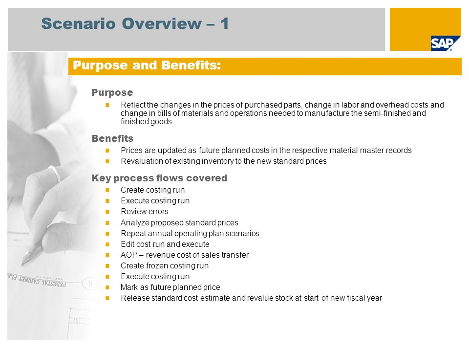 Scenario Overview – 2 Required SAP enhancement package 4 for SAP ERP 6.0 Company roles involved in process flows Cost Controller Master Data Controller SAP Applications Required: