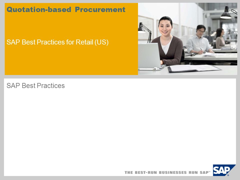 Quotation-based Procurement SAP Best Practices for Retail (US) SAP Best Practices