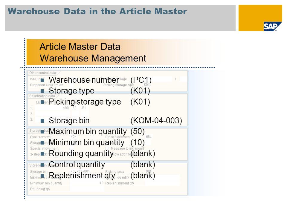 Warehouse Data in the Article Master Article Master Data Warehouse Management Warehouse number(PC1) Storage type(K01) Picking storage type(K01) Storag