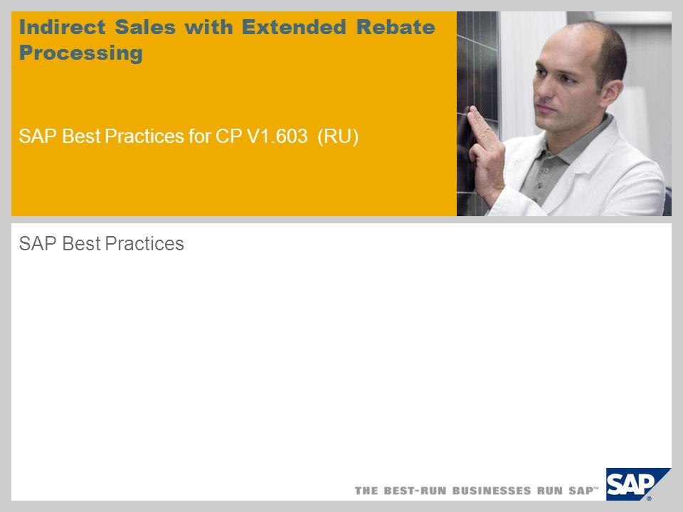 sample for a picture in the title slide Indirect Sales with Extended Rebate Processing SAP Best Practices for CP V1.603 (RU) SAP Best Practices