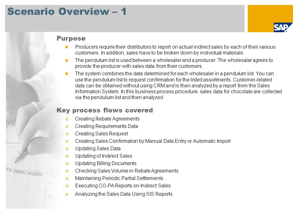 Scenario Overview – 1 Purpose Producers require their distributors to report on actual indirect sales by each of their various customers.