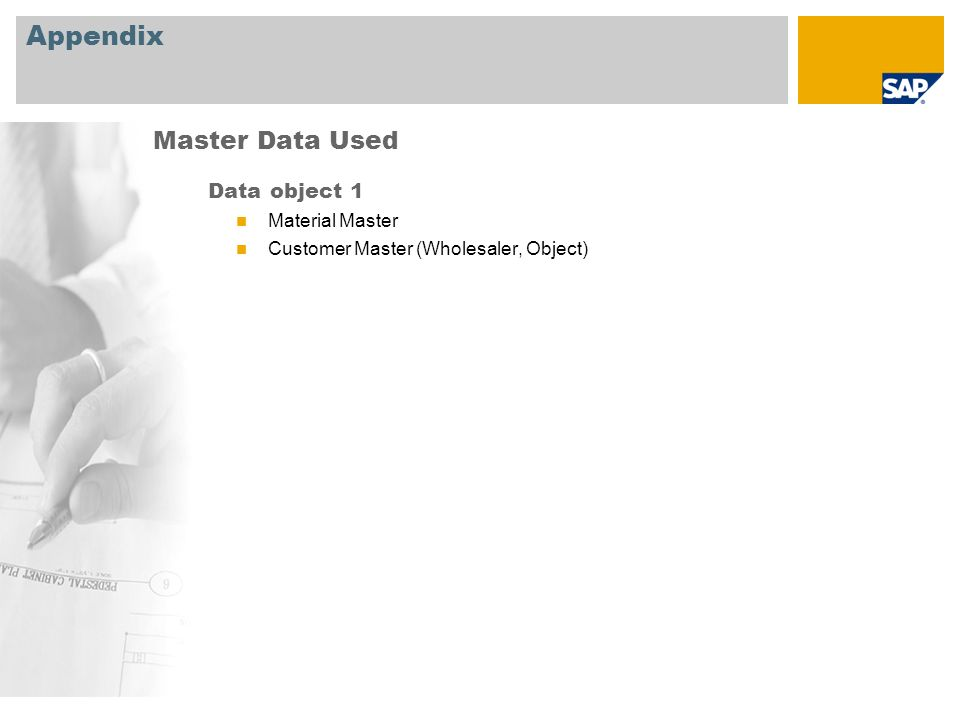 Appendix Data object 1 Material Master Customer Master (Wholesaler, Object) Master Data Used