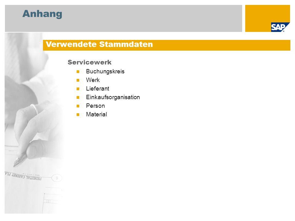 Anhang Servicewerk Buchungskreis Werk Lieferant Einkaufsorganisation Person Material Verwendete Stammdaten