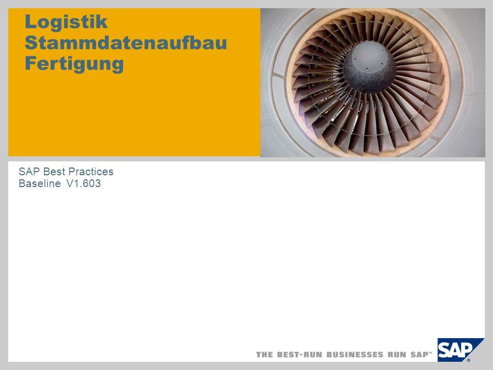 Logistik Stammdatenaufbau Fertigung SAP Best Practices Baseline V1.603