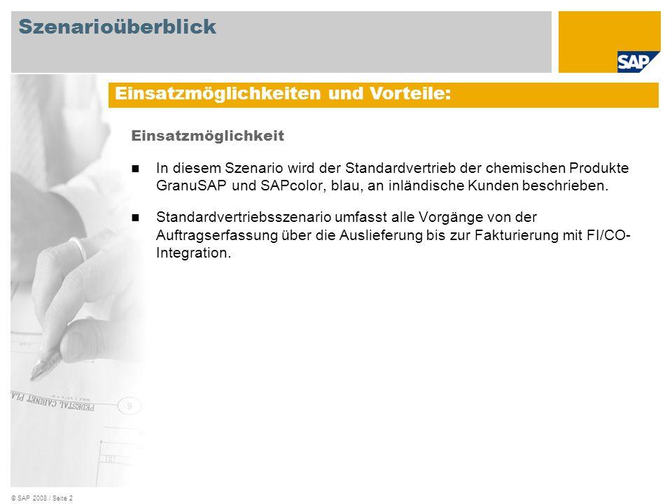 © SAP 2008 / Seite 3 Erforderlich SAP EHP3 for SAP ERP 6.0 An den Abläufen beteiligte Benutzerrollen Vertriebssachbearbeiter Lagermitarbeiter Sachbearbeiter Fakturierung Erforderliche SAP-Anwendungen: Szenarioüberblick