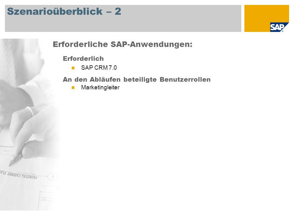 Szenarioüberblick – 2 Erforderlich SAP CRM 7.0 An den Abläufen beteiligte Benutzerrollen Marketingleiter Erforderliche SAP-Anwendungen: