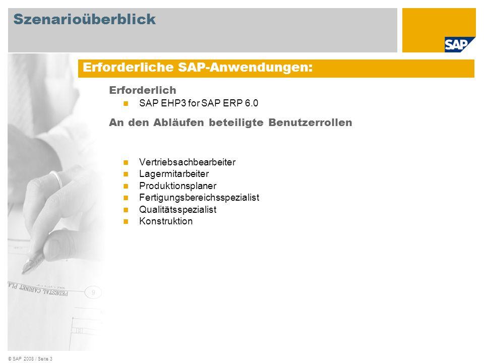 © SAP 2008 / Seite 4 Szenarioüberblick Betriebswirtschaftliche Anforderungen: Ersetzen der derzeitigen Kombination von Produktpaket und Etikett, beispielsweise durch ein kundenspezifisches Etikett Vertrieb Produktions- durchführung Kundenauftrag zur Umetikettierung des Kundenprodukts Prozessauftrag für die Umetikettierung Bestandsführung Qualitäts- management Lagerverwaltung