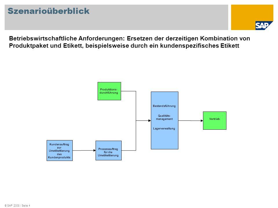 © SAP 2008 / Seite 5 Betriebswirtschaftlicher Hintergrund Mit dem Szenario Umetikettierung werden Materialien aus dem Lagerbestand (generisches Etikett) in andere Materialien übertragen, die nach Kundenwunsch etikettiert werden.