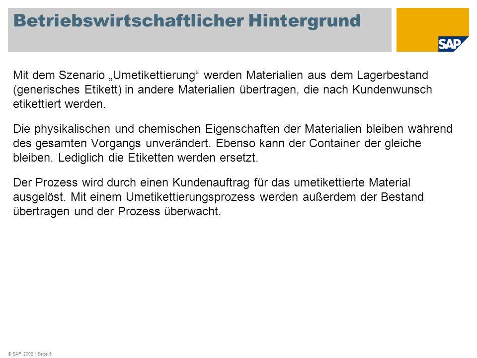 © SAP 2008 / Seite 5 Betriebswirtschaftlicher Hintergrund Mit dem Szenario Umetikettierung werden Materialien aus dem Lagerbestand (generisches Etiket