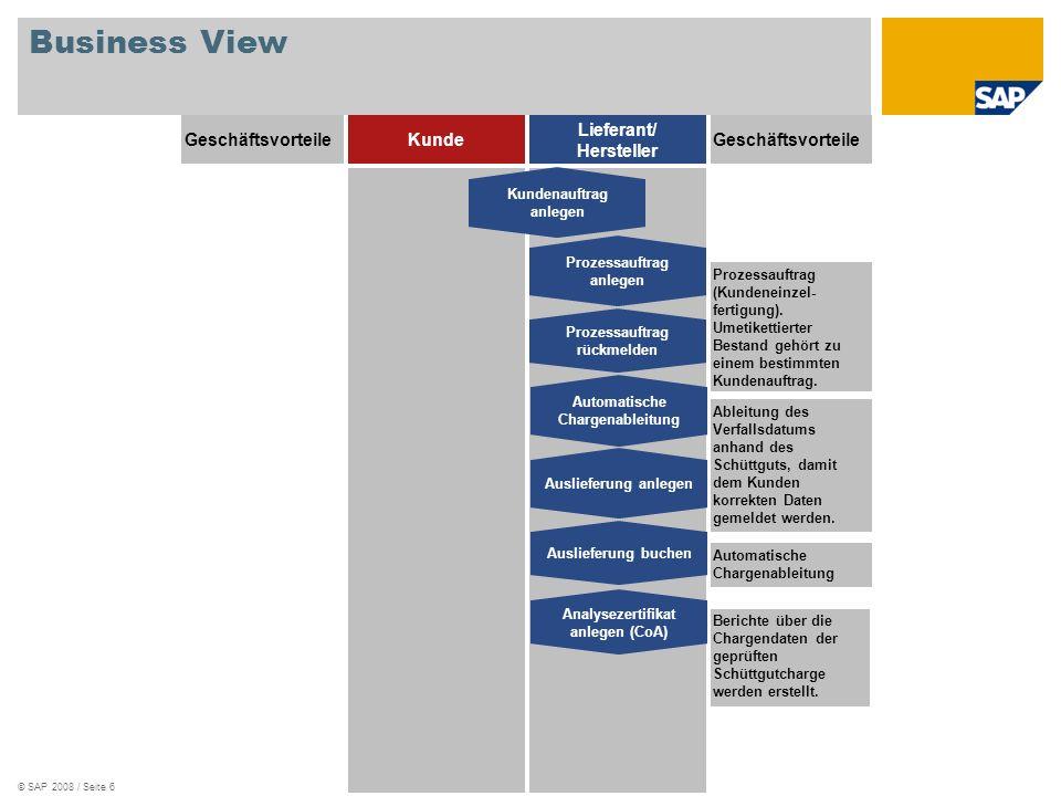 © SAP 2008 / Seite 7 Geschäftsprozess SAP ERP – Abfüllung (Voraussetzung für die Umetikettierung) CH-3000, Schüttgut Charge mit Qualitätsprüfung und Verwendungsentscheid Chargenableitung Verfallsdatum Prozessauftrag (Befüllen) anlegen Prozessauftrag (Befüllen) rückmelden CH-1120 – Etikett BlueSky CH-1110 - Etikett MagicBlue CH-XXXX – 10-kg-Kanister Kundenauftrag anlegen Chargenableitung Verfallsdatum Prozessauftrag (Umetikettieren) anlegen Prozessauftrag (Umetikettieren) rückmelden Automatische Chargenfindung Lieferung Warenausgang buchen Lieferung anlegen Analysezertifikat CH-6020 SAP ERP – Umetikettierung Verfallsdatum CH-3000 CH-6010 - MagicBlue 10 KG Verfallsdatum CH-6010 CH-6020 – BlueSky 10 KG Prüfergebnisse CH-3000 Verfallsdatum CH-6010