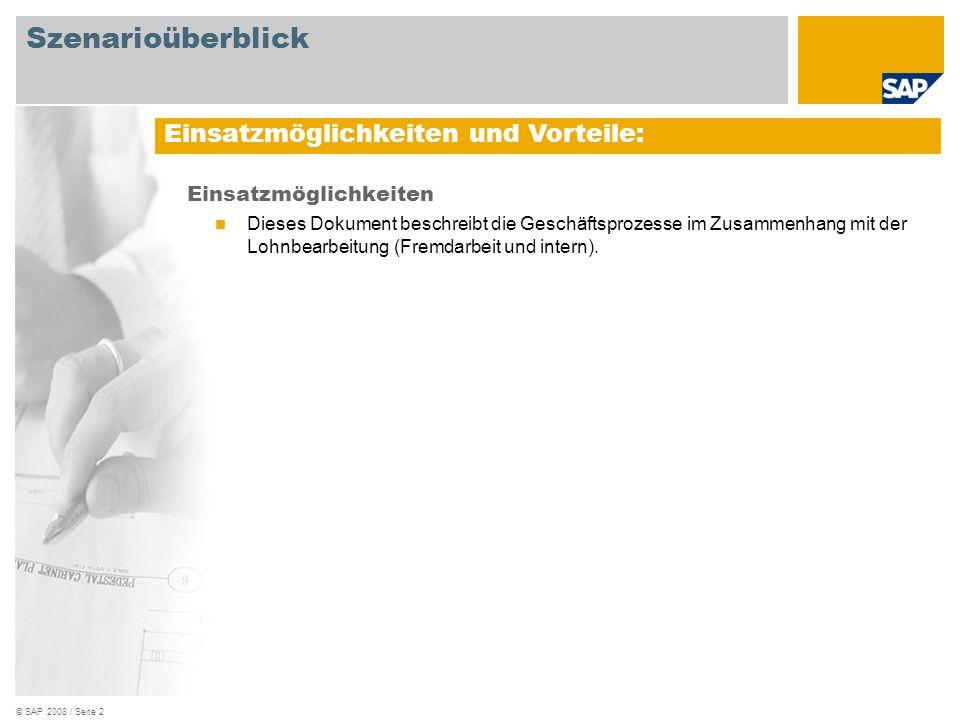 © SAP 2008 / Seite 3 Erforderlich SAP EHP3 for SAP ERP 6.0 An den Abläufen beteiligte Benutzerrollen Lagermitarbeiter Fertigungsauftrag Produktionsplaner Fertigungsbereichsspezialist Qualitätsspezialist Vertriebsachbearbeiter Einkäufer Debitorenbuchhalter Erforderliche SAP-Anwendungen: Szenarioüberblick