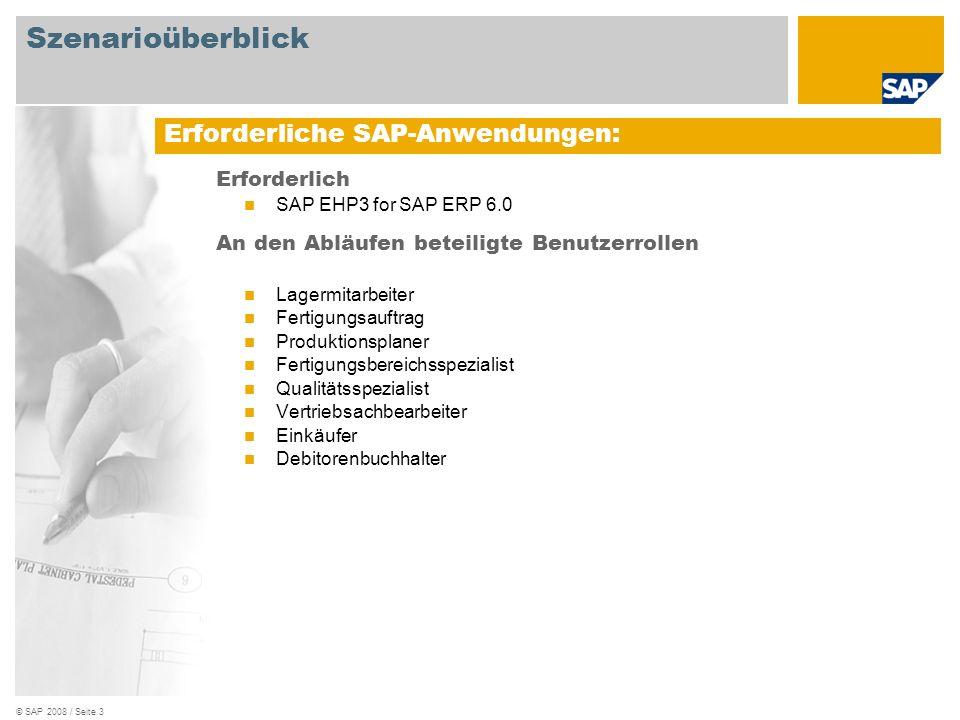 © SAP 2008 / Seite 3 Erforderlich SAP EHP3 for SAP ERP 6.0 An den Abläufen beteiligte Benutzerrollen Lagermitarbeiter Fertigungsauftrag Produktionspla