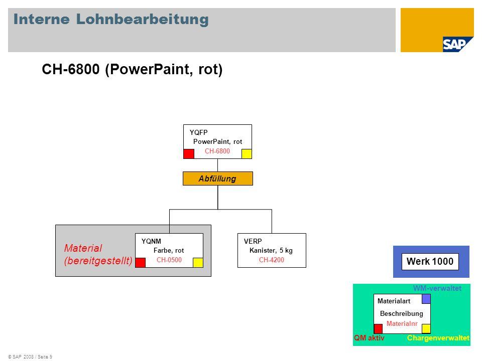 © SAP 2008 / Seite 9 Interne Lohnbearbeitung Abfüllung Kanister, 5 kg VERP CH-4200 PowerPaint, rot YQFP CH-6800 Material (bereitgestellt) Material (be