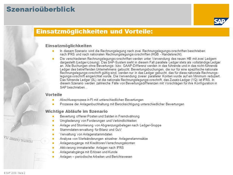 © SAP 2008 / Seite 2 Einsatzmöglichkeiten In diesem Szenario wird die Rechnungslegung nach zwei Rechnungslegungsvorschriften beschrieben: nach IFRS un