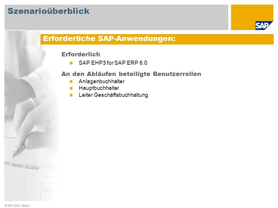 © SAP 2008 / Seite 3 Erforderlich SAP EHP3 for SAP ERP 6.0 An den Abläufen beteiligte Benutzerrollen Anlagenbuchhalter Hauptbuchhalter Leiter Geschäft
