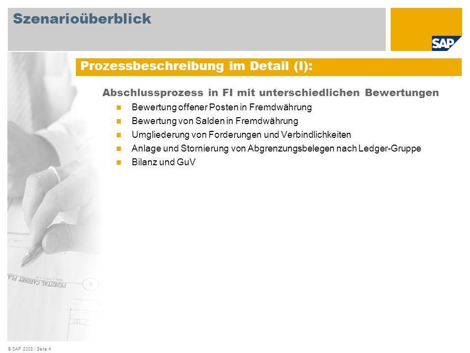 © SAP 2008 / Seite 4 Abschlussprozess in FI mit unterschiedlichen Bewertungen Bewertung offener Posten in Fremdwährung Bewertung von Salden in Fremdwä