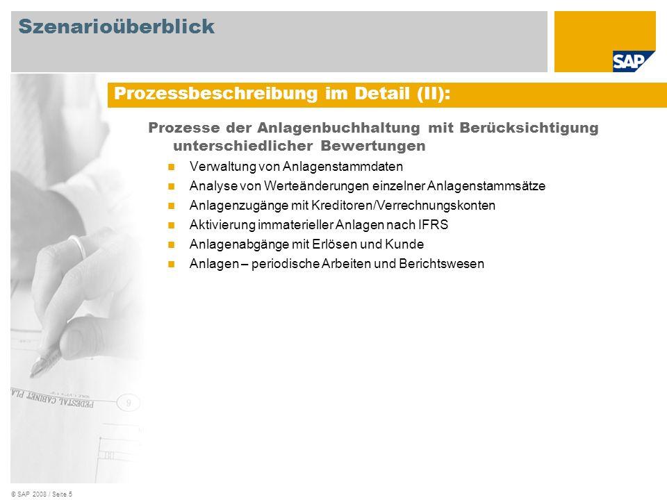 © SAP 2008 / Seite 5 Prozesse der Anlagenbuchhaltung mit Berücksichtigung unterschiedlicher Bewertungen Verwaltung von Anlagenstammdaten Analyse von W