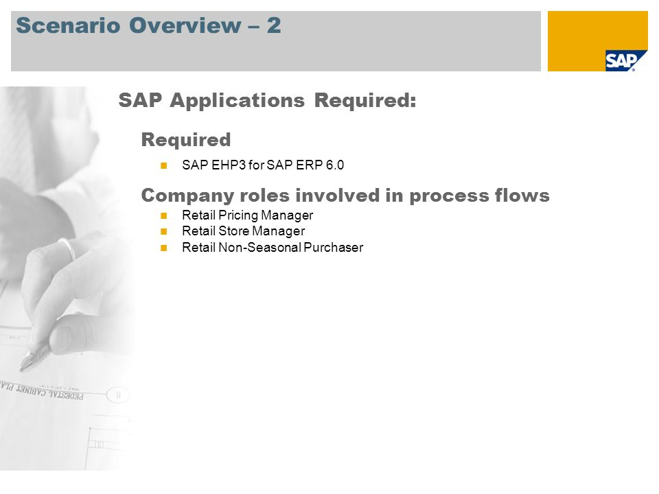Scenario Overview – 2 Required SAP EHP3 for SAP ERP 6.0 Company roles involved in process flows Retail Pricing Manager Retail Store Manager Retail Non