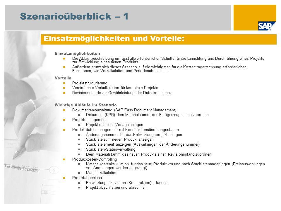 Szenarioüberblick – 2 Erforderlich Enhancement package 5 for SAP ERP 6.0 An den Abläufen beteiligte Benutzerrollen Projektleiter Produktkosten Controller Fachkraft Konstruktion Mitarbeiter (Spezialist) Enterprise Controller Anlagenbuchhalter Erforderliche SAP-Anwendungen: