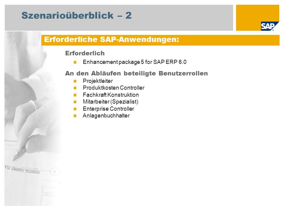 Szenarioüberblick – 2 Erforderlich Enhancement package 5 for SAP ERP 6.0 An den Abläufen beteiligte Benutzerrollen Projektleiter Produktkosten Control