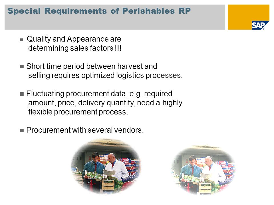 Special Requirements of Perishables RP Quality and Appearance are determining sales factors !!.