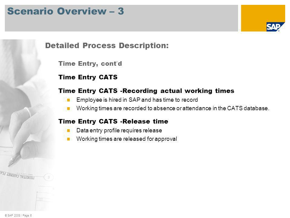 © SAP 2008 / Page 6 Scenario Overview – 3 Time Entry, cont d Time Entry CATS Time Entry CATS -Recording actual working times Employee is hired in SAP