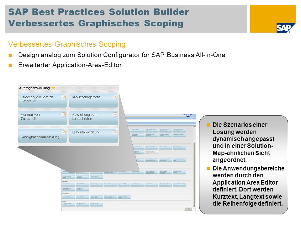 SAP Best Practices Solution Builder Verbessertes Graphisches Scoping Verbessertes Graphisches Scoping Design analog zum Solution Configurator for SAP