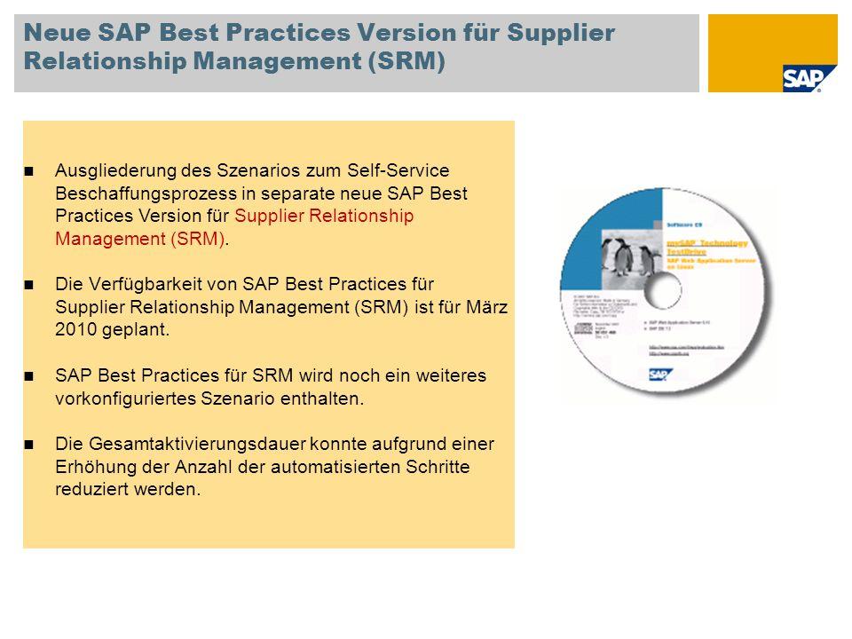 Neue SAP Best Practices Version für Supplier Relationship Management (SRM) Ausgliederung des Szenarios zum Self-Service Beschaffungsprozess in separat