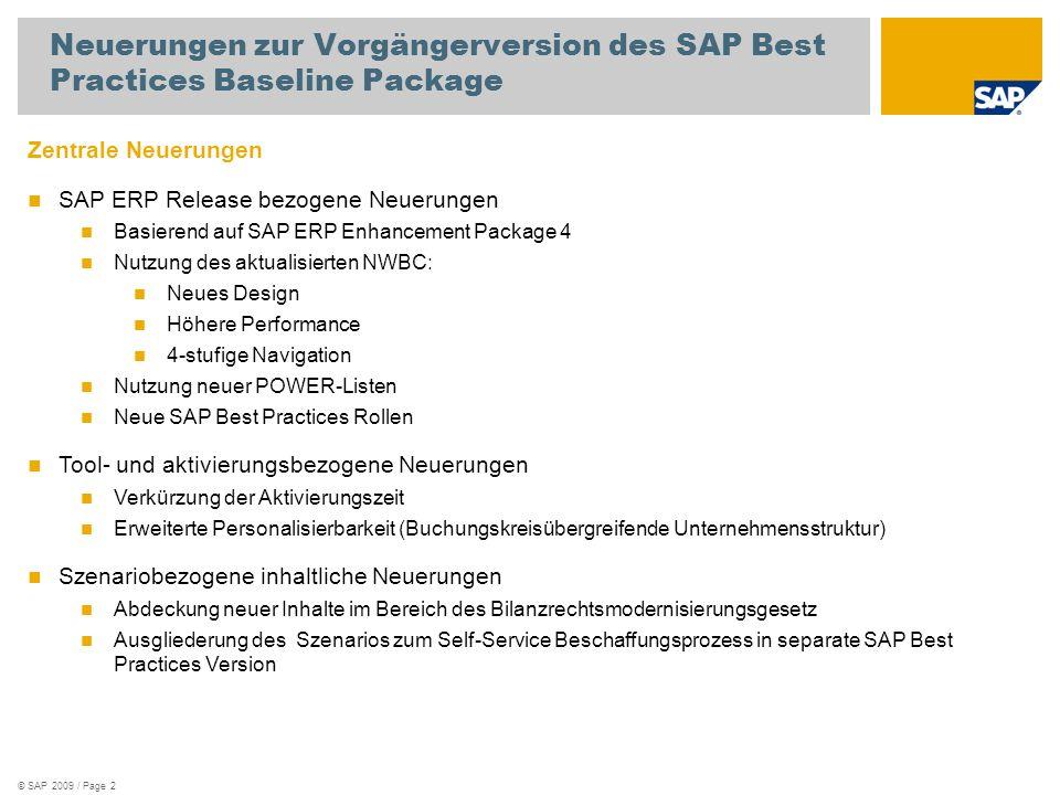 © SAP 2009 / Page 2 Neuerungen zur Vorgängerversion des SAP Best Practices Baseline Package Zentrale Neuerungen SAP ERP Release bezogene Neuerungen Ba