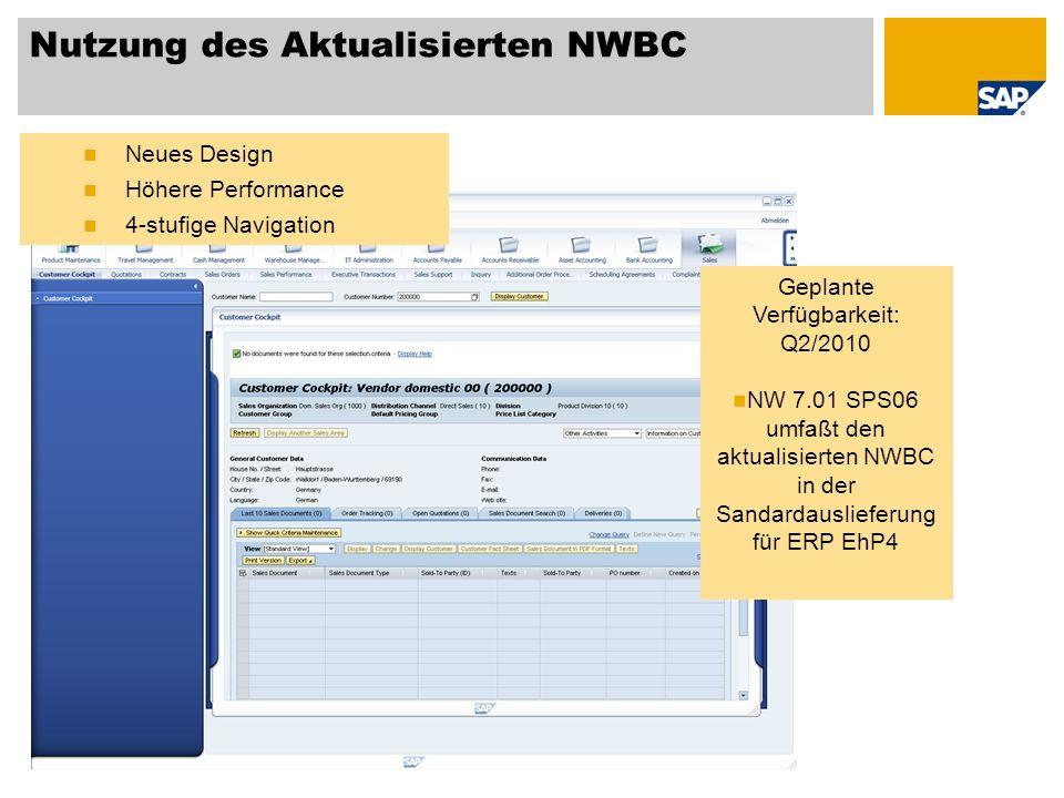 Nutzung des Aktualisierten NWBC Neues Design Höhere Performance 4-stufige Navigation Geplante Verfügbarkeit: Q2/2010 NW 7.01 SPS06 umfaßt den aktualis