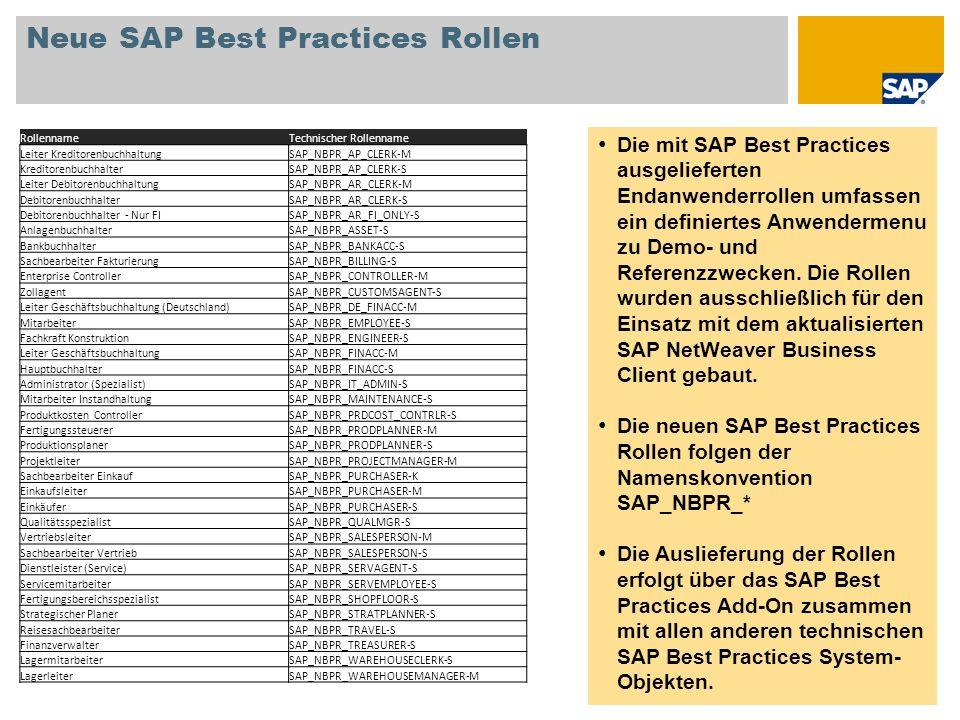 Neue SAP Best Practices Rollen Die mit SAP Best Practices ausgelieferten Endanwenderrollen umfassen ein definiertes Anwendermenu zu Demo- und Referenz