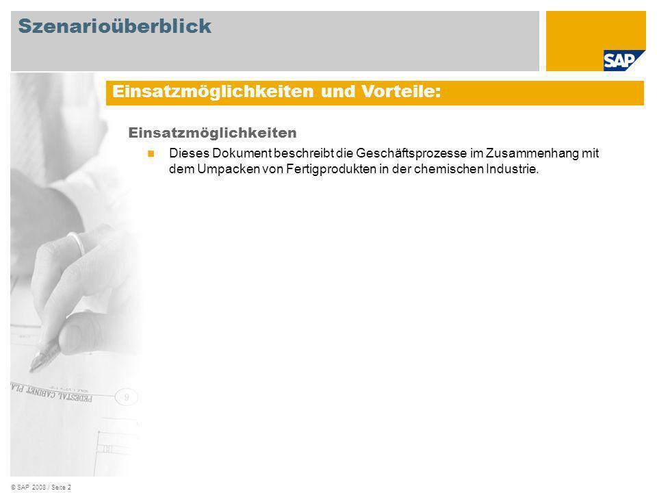 © SAP 2008 / Seite 3 Erforderlich SAP EHP3 for SAP ERP 6.0 An den Abläufen beteiligte Benutzerrollen Lagermitarbeiter Lagerleiter Produktionsplaner Fertigungsbereichsspezialist Qualitätsspezialist Konstruktion Erforderliche SAP-Anwendungen: Szenarioüberblick