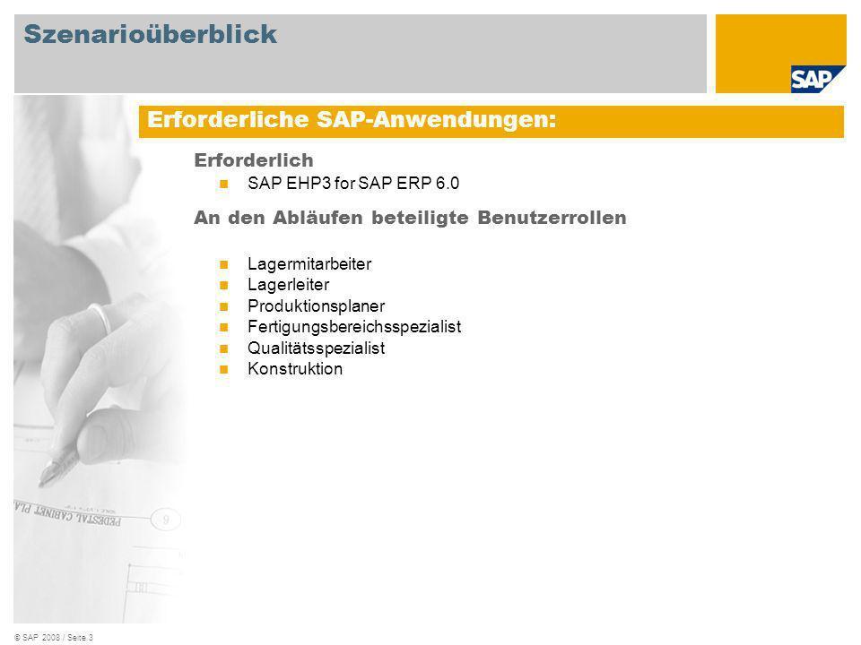 © SAP 2008 / Seite 3 Erforderlich SAP EHP3 for SAP ERP 6.0 An den Abläufen beteiligte Benutzerrollen Lagermitarbeiter Lagerleiter Produktionsplaner Fe
