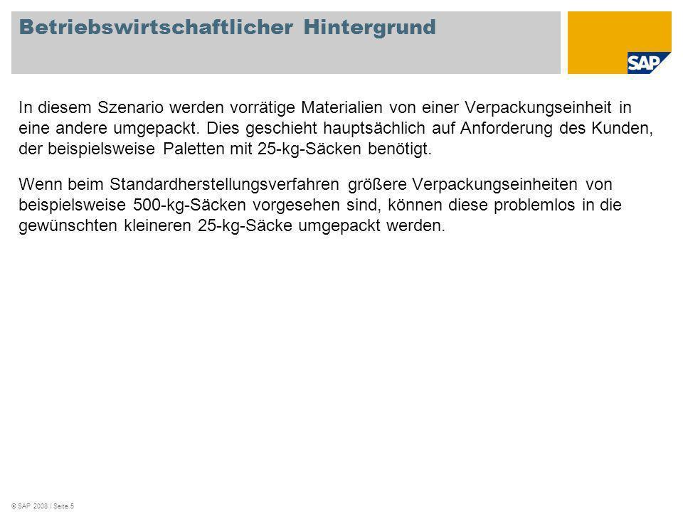 © SAP 2008 / Seite 5 Betriebswirtschaftlicher Hintergrund In diesem Szenario werden vorrätige Materialien von einer Verpackungseinheit in eine andere