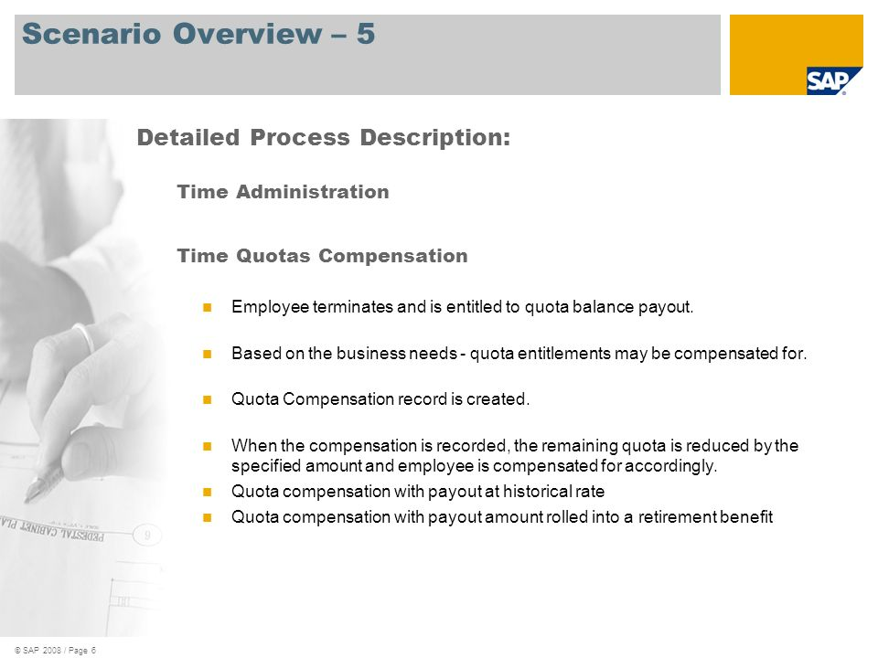 © SAP 2008 / Page 6 Scenario Overview – 5 Time Administration Time Quotas Compensation Employee terminates and is entitled to quota balance payout. Ba