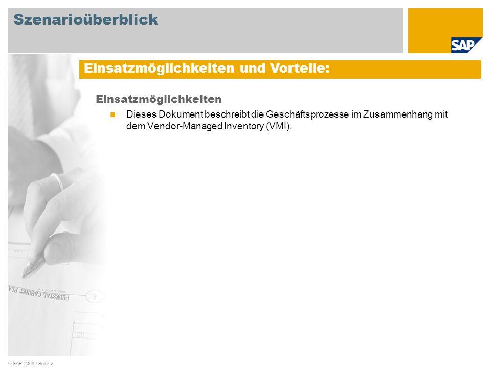 © SAP 2008 / Seite 2 Einsatzmöglichkeiten Dieses Dokument beschreibt die Geschäftsprozesse im Zusammenhang mit dem Vendor-Managed Inventory (VMI). Ein