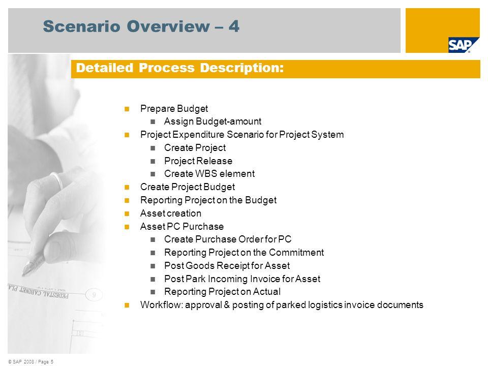 © SAP 2008 / Page 5 Scenario Overview – 4 Prepare Budget Assign Budget-amount Project Expenditure Scenario for Project System Create Project Project R