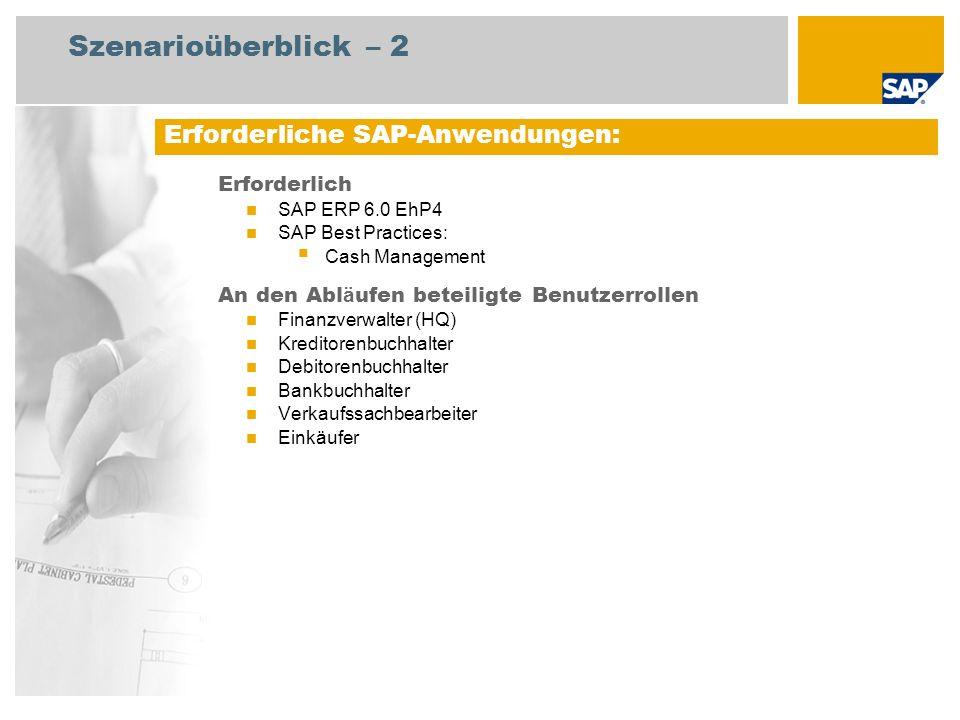 Erforderlich SAP ERP 6.0 EhP4 SAP Best Practices: Cash Management An den Abl ä ufen beteiligte Benutzerrollen Finanzverwalter (HQ) Kreditorenbuchhalte